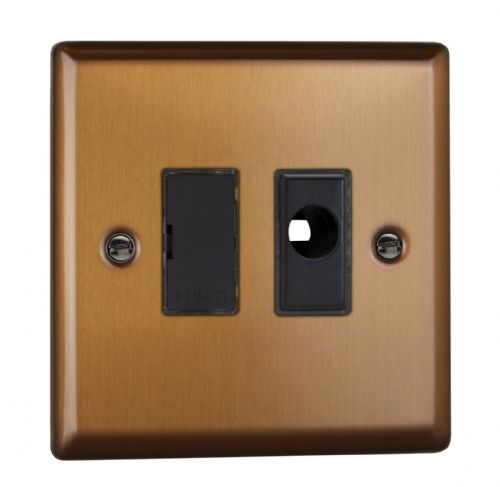 Varilight XY6UFOB.BZ Urban Brushed Bronze 1 Gang 13A Unswitched Fused Spur + Flex Outlet